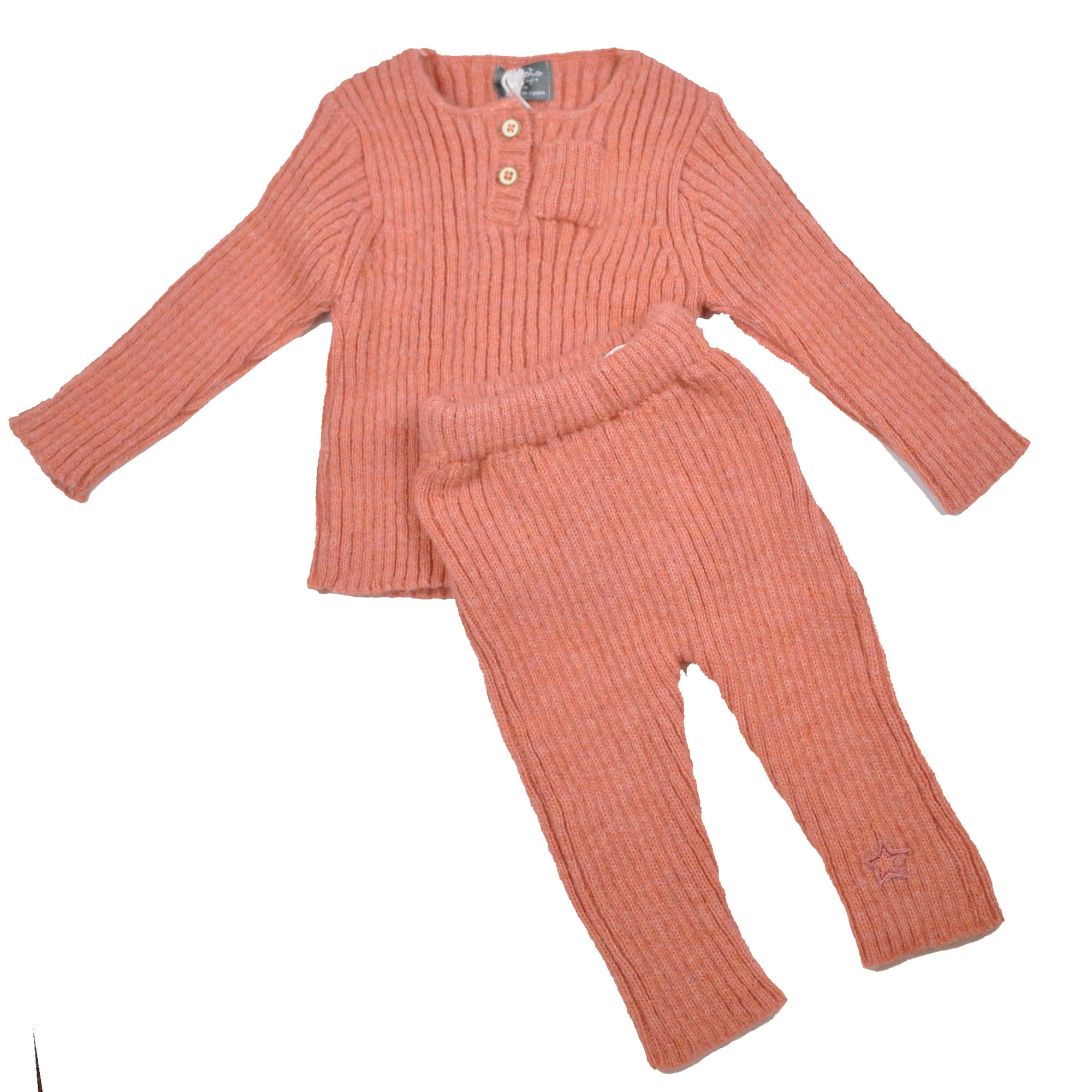 Tocoto Vintage Pink Ribbed Sweater Set