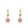 Twin Star PInk Enamel Flower Dangle Earring
