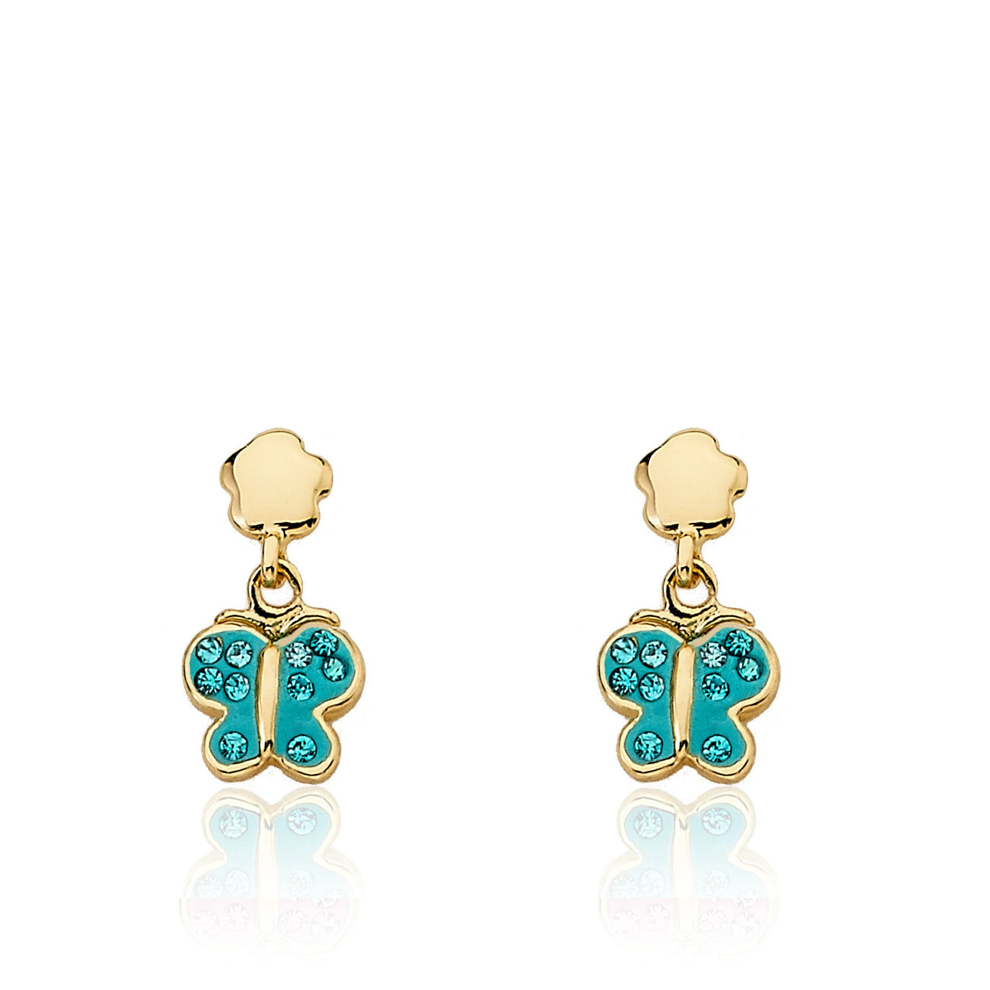 Twin Star Aqua Enamel Butterfly Dangle Earrings