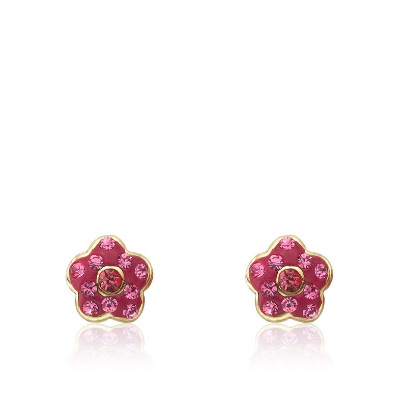 Twin Star Molly Glitz Flowery Hot Pink Enamel Flower Stud