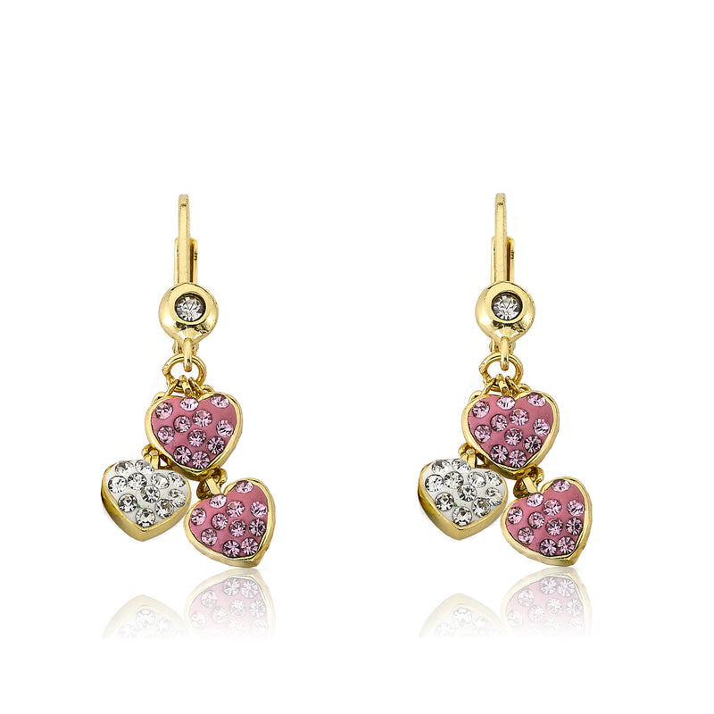 Twin Star Pink and White Crystal Hearts Cluster Dangle Earring
