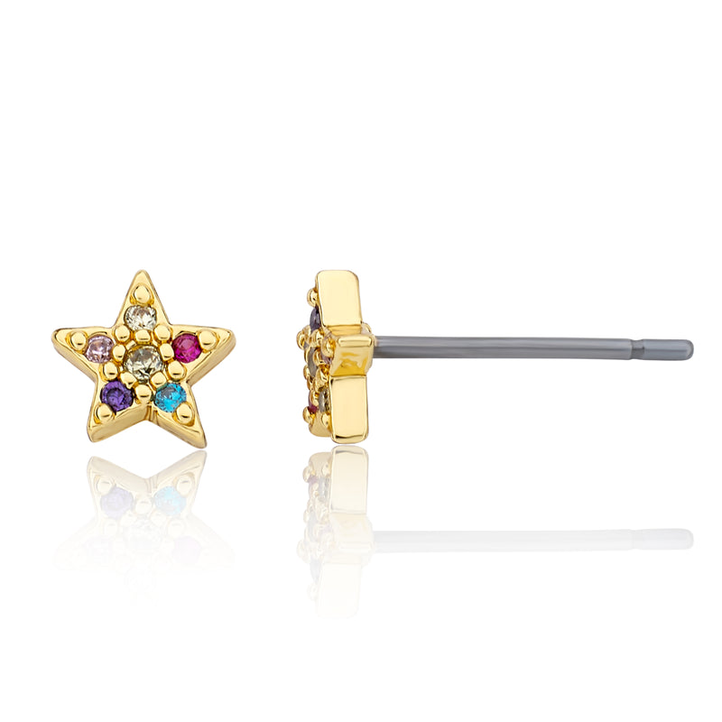 Twin Star LMTS Classic Rainbow CZ Filled Star Stud Earring