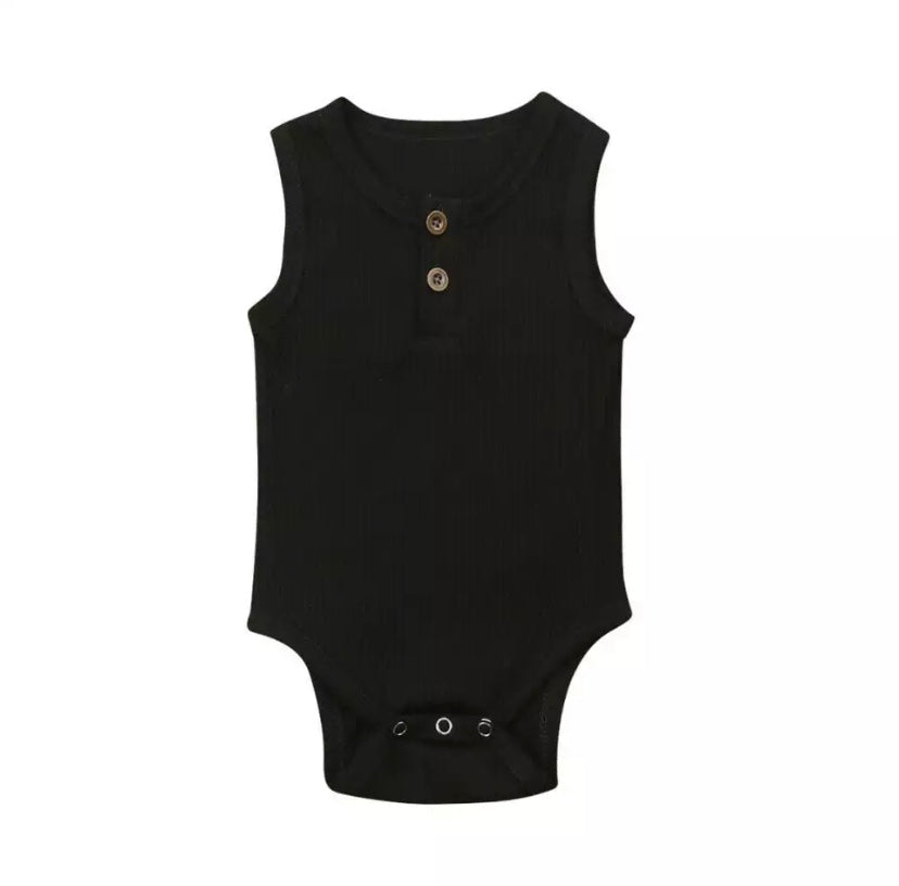 Baby Beau Black Ribbed Onesie