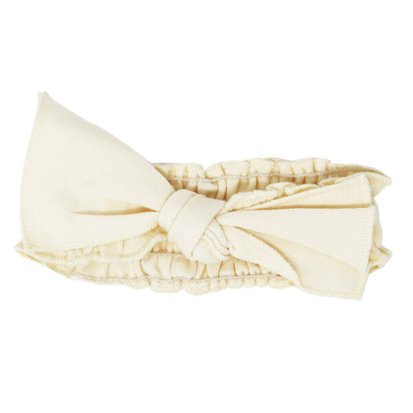 L'oved Baby Beige Organic Smocked Tie Headband