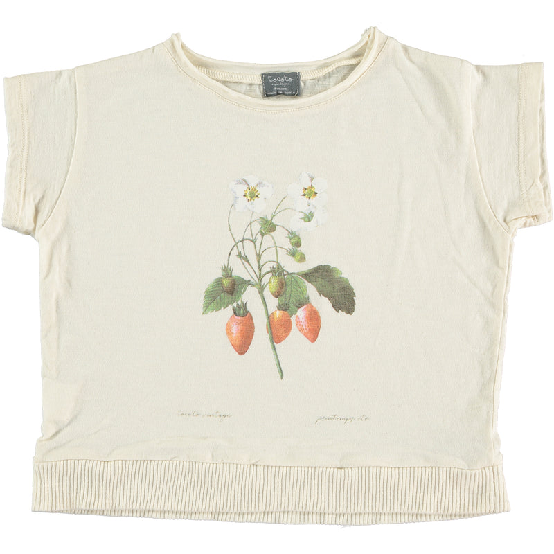 Tocoto Vintage Off-White Strawberry Plant T-Shirt