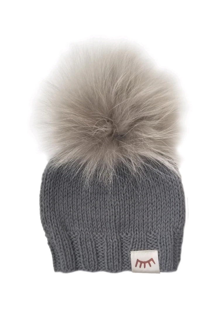 Winx and Blinx Grey Pompom Knit Hat