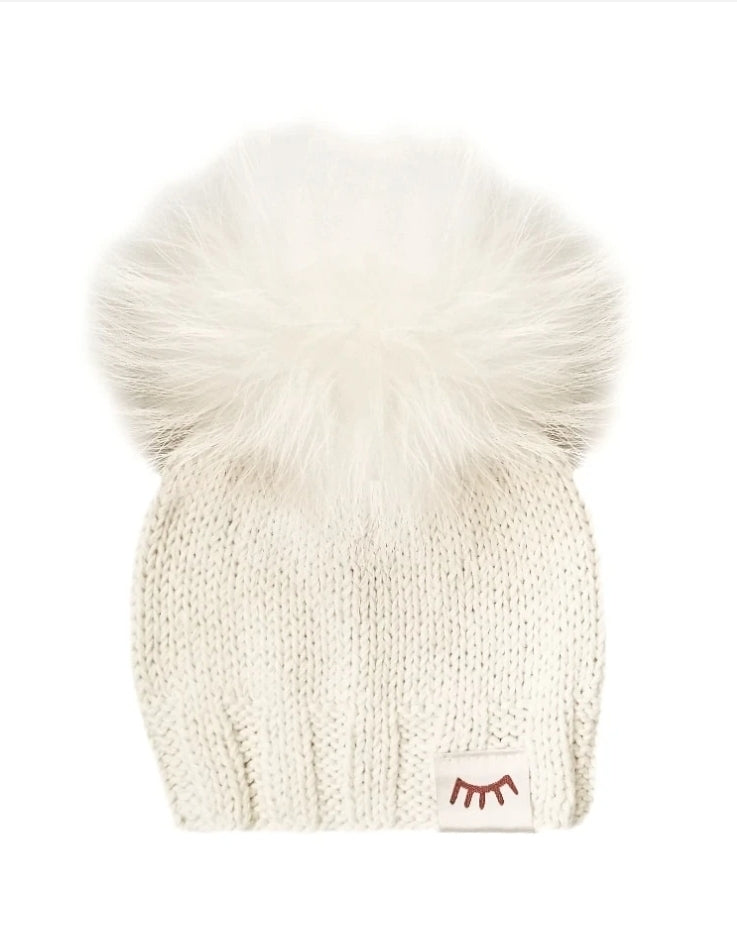 Winx and Blinx Cream ponpom Knit Hats