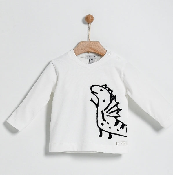 Yell-Oh Off White Dragon Print T-Shirt