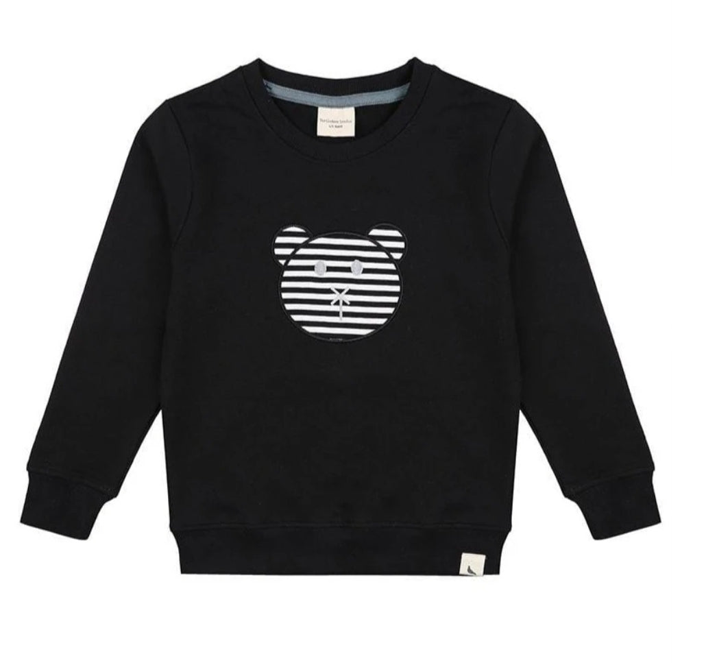 Turtledove Black Applique Bear Sweatshirt