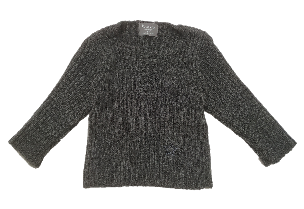 Tocoto Vintage Grey Ribbed Sweater Set