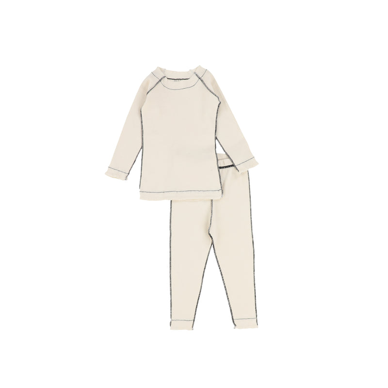 Bee And Dee Ribbed Contrast Cream Loungewear