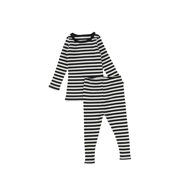 Bee and Dee Black/Cream Ribbed Pajamas