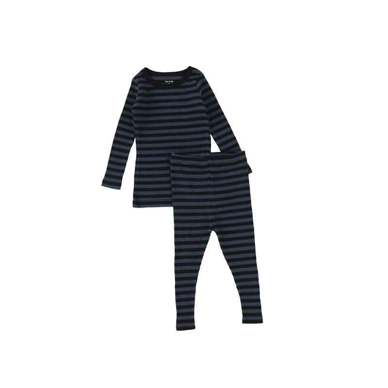 Bee and Dee Blue/Black Ribbed Pajamas