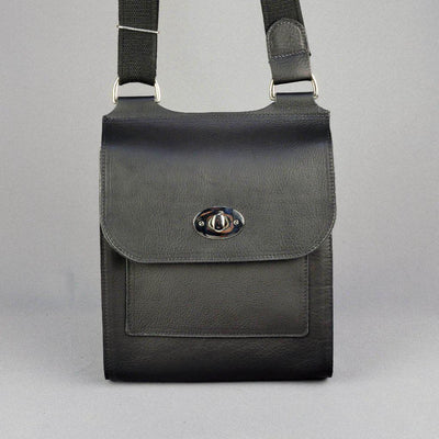 Handmade Black Leather Turnlock Bag-Village Leathers-Blue Water Clothing