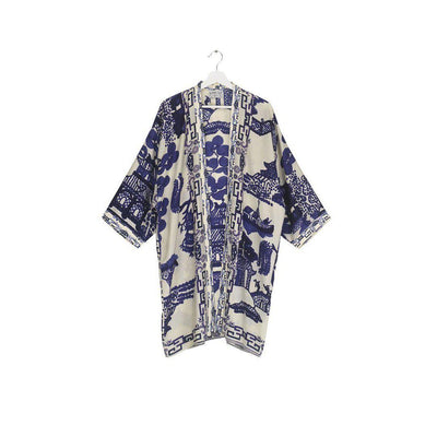 One Hundred Stars Giant Willow Collar Kimono-One Hundred Stars-Blue Water Clothing