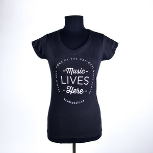 Music Lives Here V-Neck T-Shirt