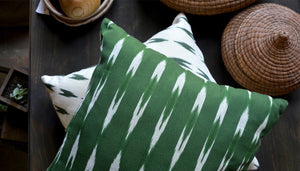 Green throw pillows ikat design