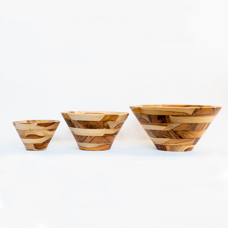 Three conical mosaic salad bowls