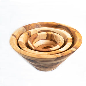 nesting salad bowls made from wood