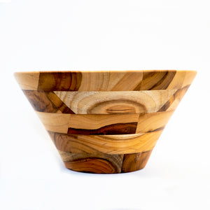 Large conical salad bowl made from teak wood