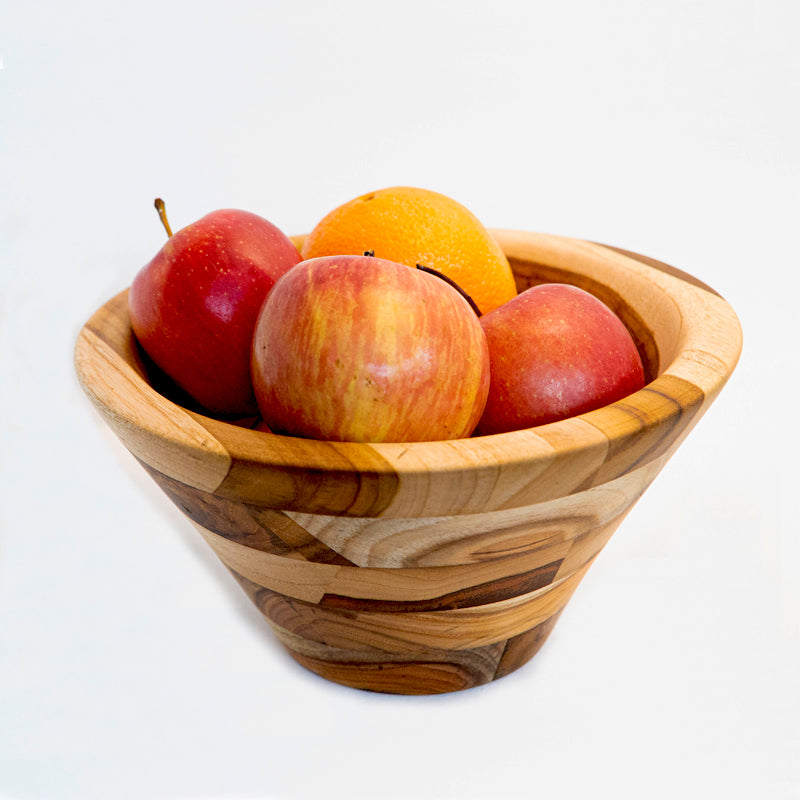 Conical fruit bowl made from wood