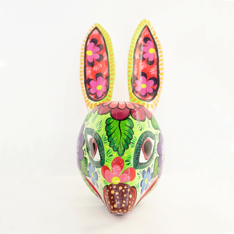 Colorful painted rabbit mask handmade with pine wood and painted floral designs