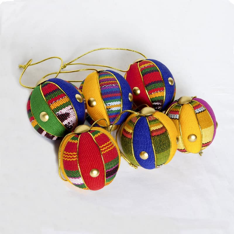 Quilted Ball Ornaments Set of 6