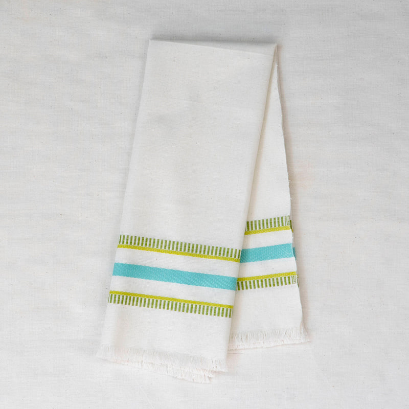 white tea towel with turquoise and green embroidered stripes