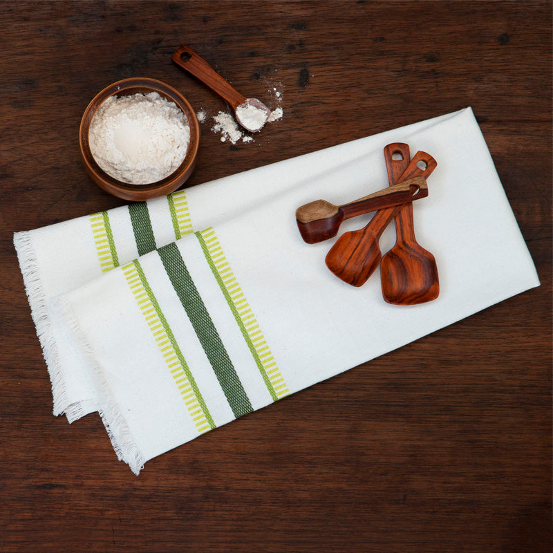 Kitchen towel with green embroidered stripes