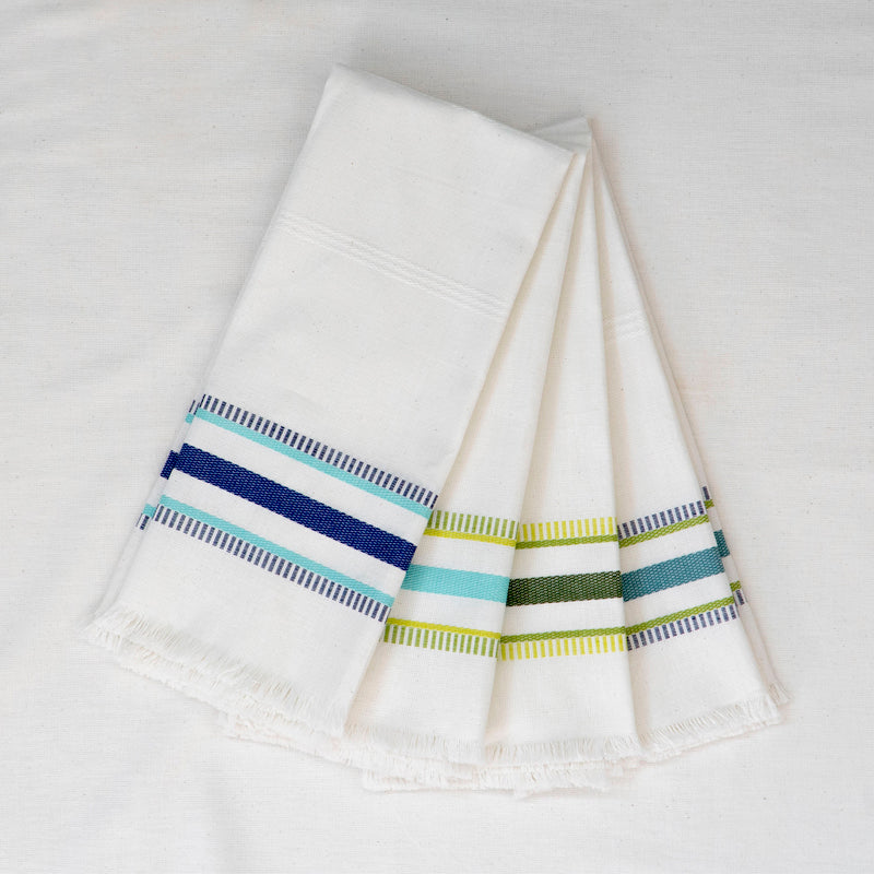 four kitchen towels with embroidered stripes