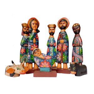 "12"" Blue Carved Nativity"