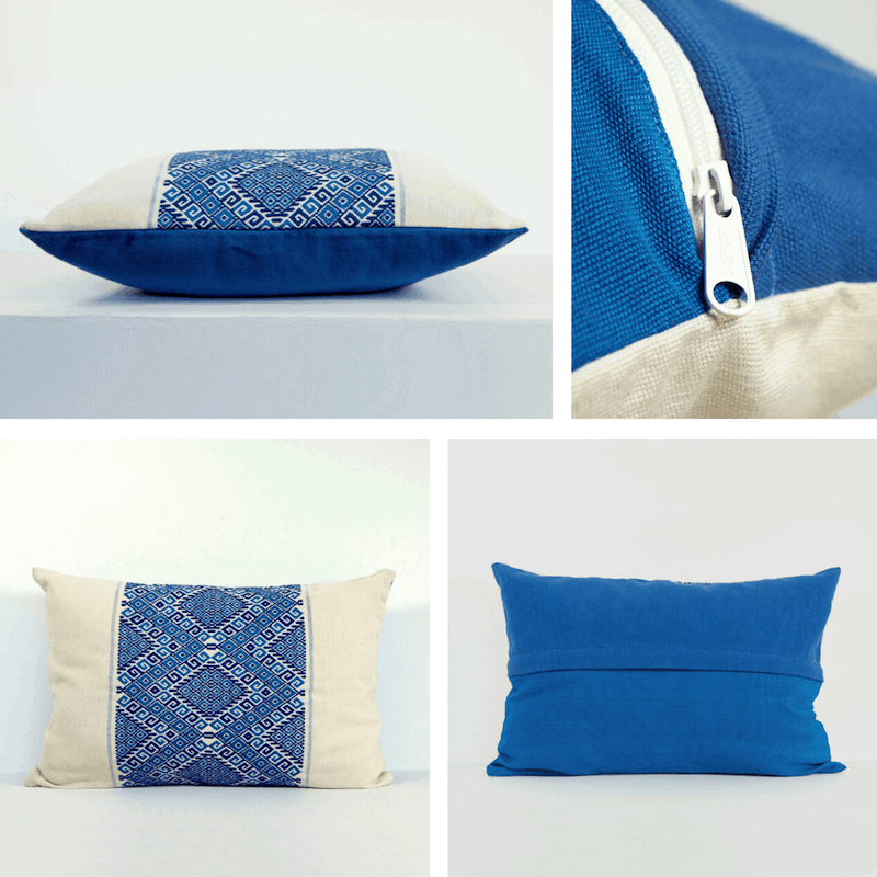 Blue Lumbar Pillows - Nahuala Diamonds