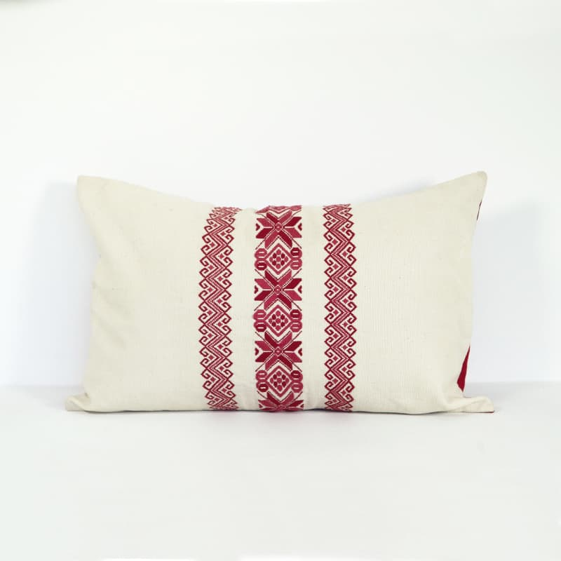 Red Lumbar Pillows - Nahuala Stars & Waves