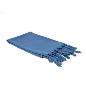 Reusable blue gray cloth napkin handwoven by Guatemalan artisans out of 100% cotton with a fringe along one edge