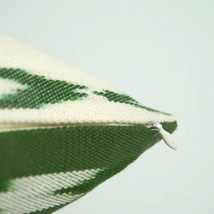 Green and White Throw Pillow - Diagonal Ikat Design