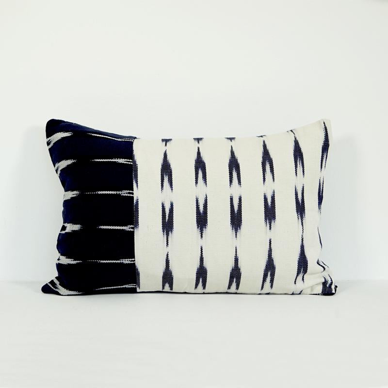 Blue and white lumbar pillow