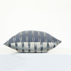 Square gray ikat pillow