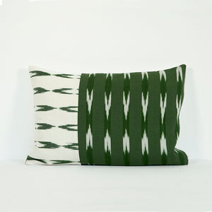 Lumbar green and natural cotton pillow case