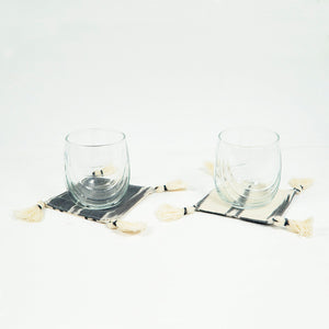 gray cotton fabric coasters