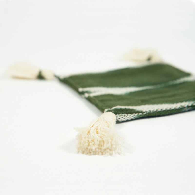 green cotton coasters with tassels