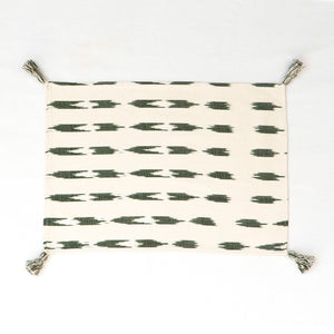 Natural cotton placemat with green stripes
