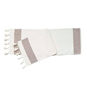White Cotton Table Runners with Floral Details - Botanical Collection