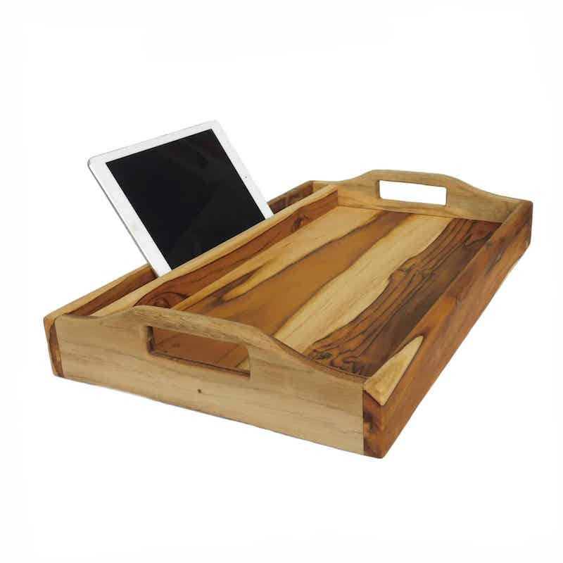 Luxury breakfast tray with reading rack or iPad slot and foldable legs