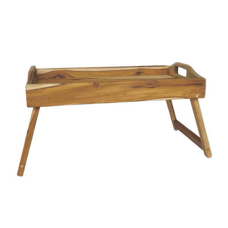 Teak wood breakfast tray with its legs extended