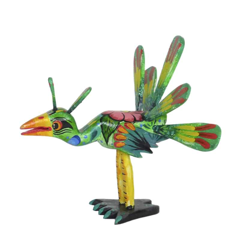 Thanksgiving Figurine - Green Wooden Turkey