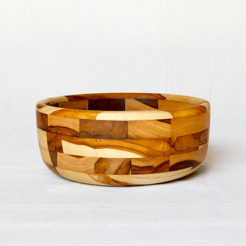 Mosaic salad bowl made from wood