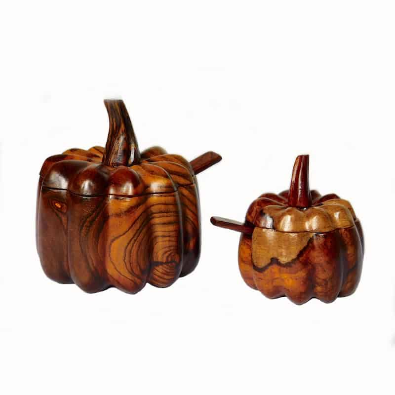 Pumpkin Shaped Bowls with Lids & Spoons