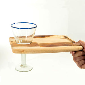Charcuterie Board with Wine Glass Holder