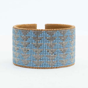 Wide Leather Cuff Bracelet with Beautiful Glass Beads