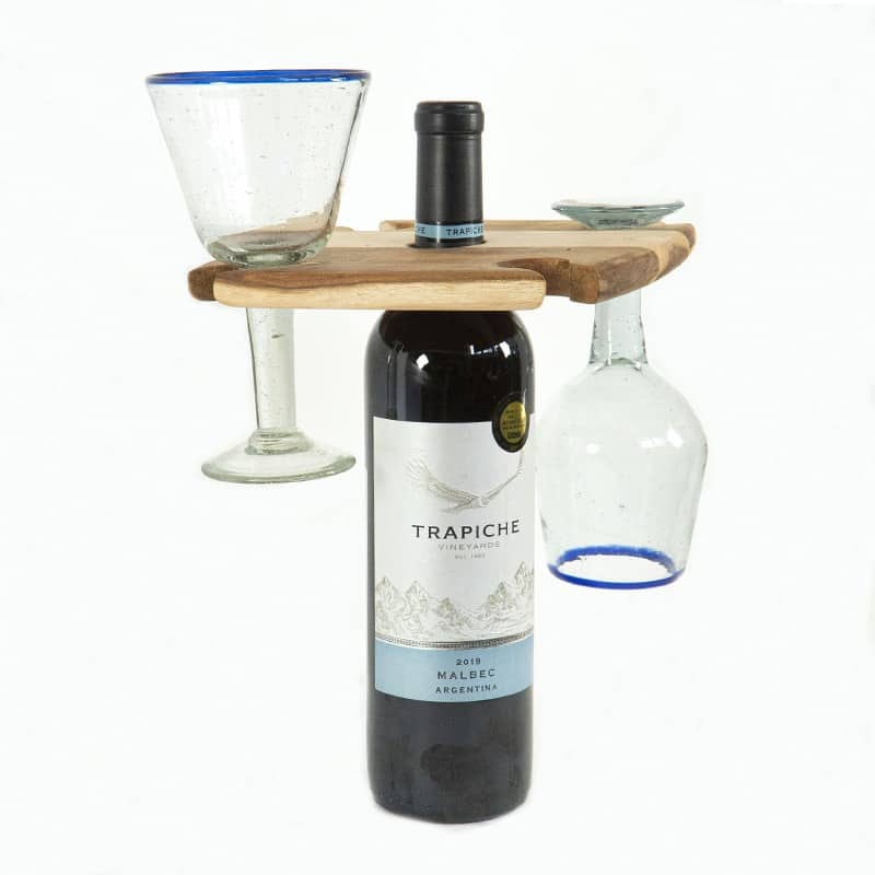 Wooden Wine Glass & Bottle Holder